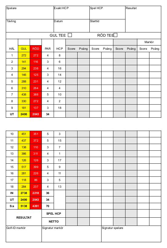Scorekort 18 hål 2019 färg